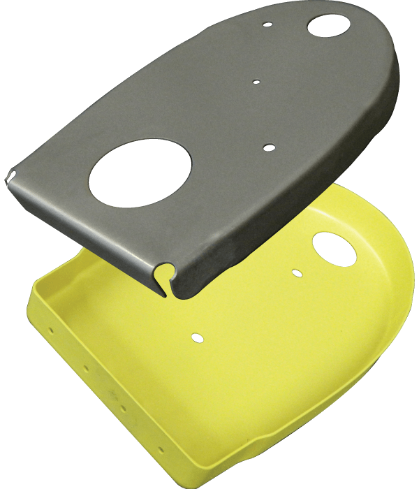 Yellow and Gray Painted Custom Machined Part